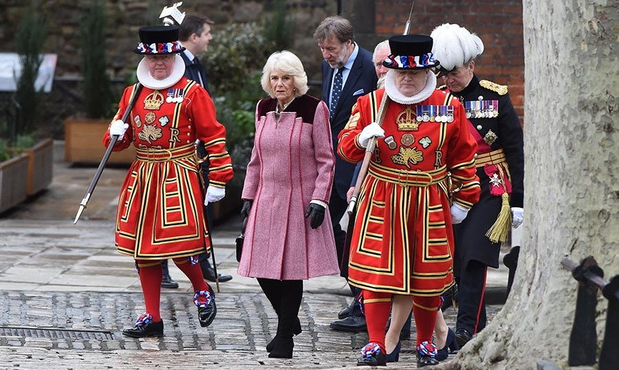 <a href=/tags/0/camilla-parker-bowles><strong>Duchess Camilla</strong></a> made her own style statement at The Tower of London to mark 535 years since the creation of Yeoman Warders (Beefeaters) on Feb. 13. <p>Photo: &copy; Eddie Mulholland - WPA Pool/Getty Images