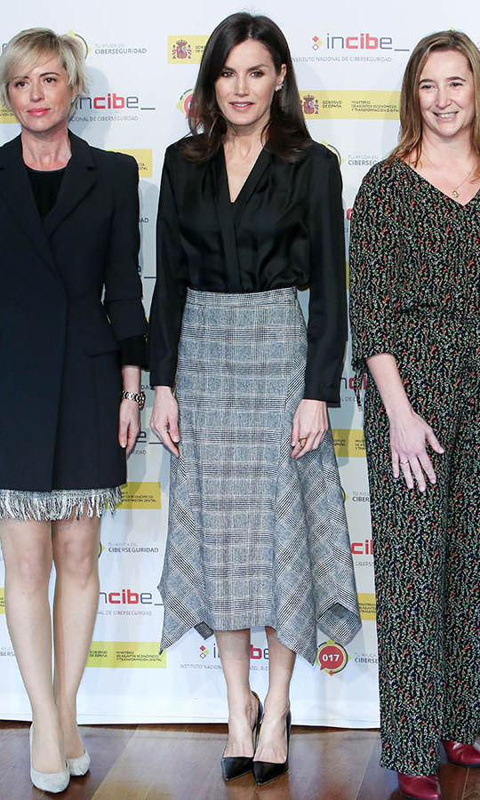 On Feb. 11, <a href=/tags/0/queen-letizia><strong>Queen Letizia</strong></a> stepped out to the 'International Day of Safe Internet' inauguration at Museum Reina Sofia in Madrid in a draped plaid skirt and black blouse. <p>Photo: &copy; Paolo Blocco/Getty Images