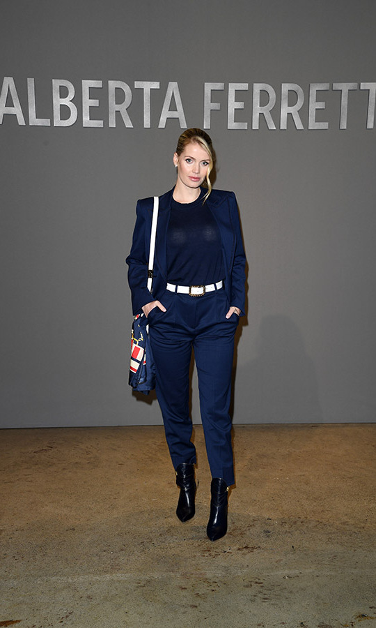 <a href=/tags/0/lady-kitty-spencer><strong>Lady Kitty Spencer</strong></a> stuck a pose in a sophisticated navy ensemble at the <a href=/tags/0/alberta-ferretti><strong>Alberta Ferretti</strong></a> fashion show on Feb. 19, 2020 during Milan Fashion Week. <p>Photo: &copy; Daniele Venturelli/Getty Images