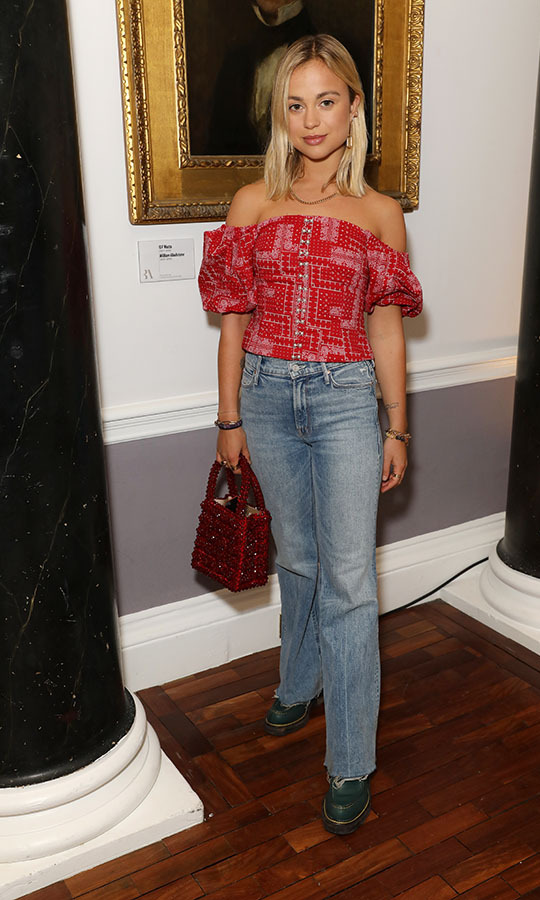 London Fashion Week regular <a href=/tags/0/lady-amelia-windsor><strong>Lady Amelia Windsor</strong></a> stepped out to the <strong>Shrimps</strong> show on Feb. 14, 2020. <p>Photo: &copy; Darren Gerrish/WireImage