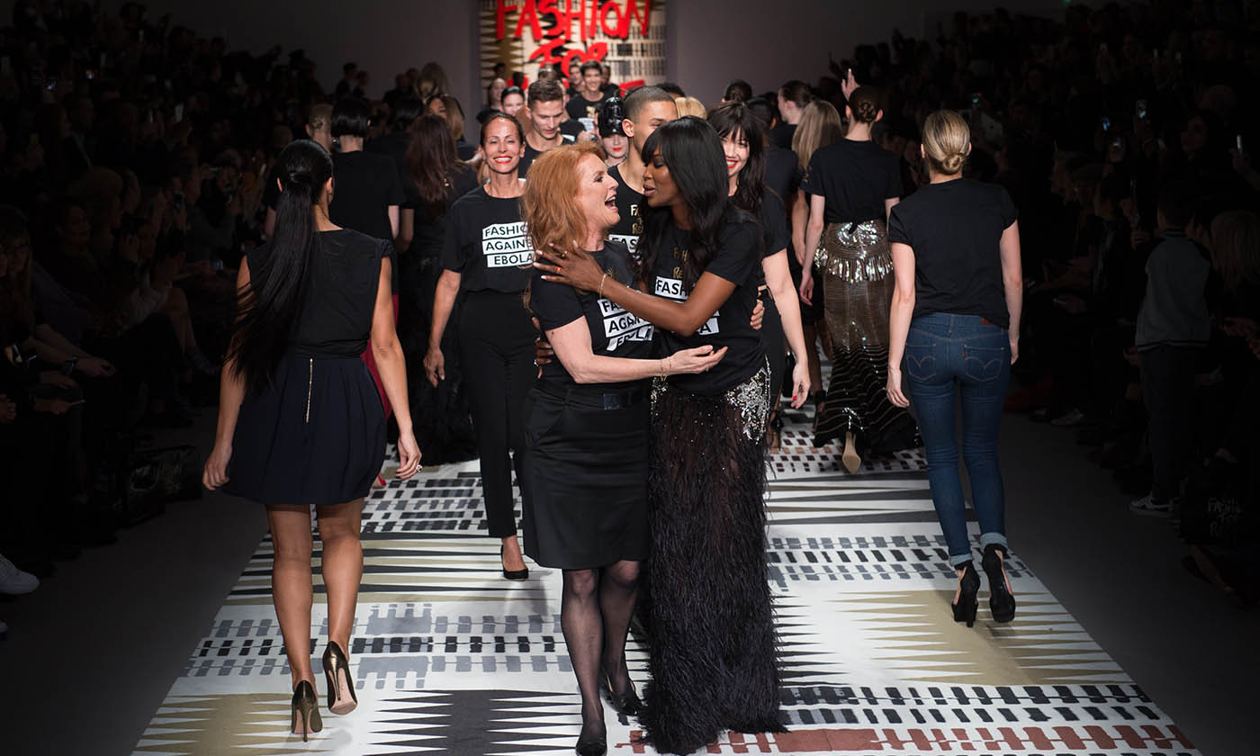 <a href=/tags/0/sarah-ferguson><strong>Sarah Ferguson</strong></a> receives a hug from <a href=/tags/0/naomi-campbell><strong>Naomi Campbell</strong></a> after walking the runway at the Fashion For Relief charity fashion show, which raised awareness and funds for Ebola. The event kicked off the London Fashion Week Fall/Winter 2015/2016 season on Feb. 19, 2015 at Somerset House.<p>Photo: &copy; Samir Hussein/WireImage