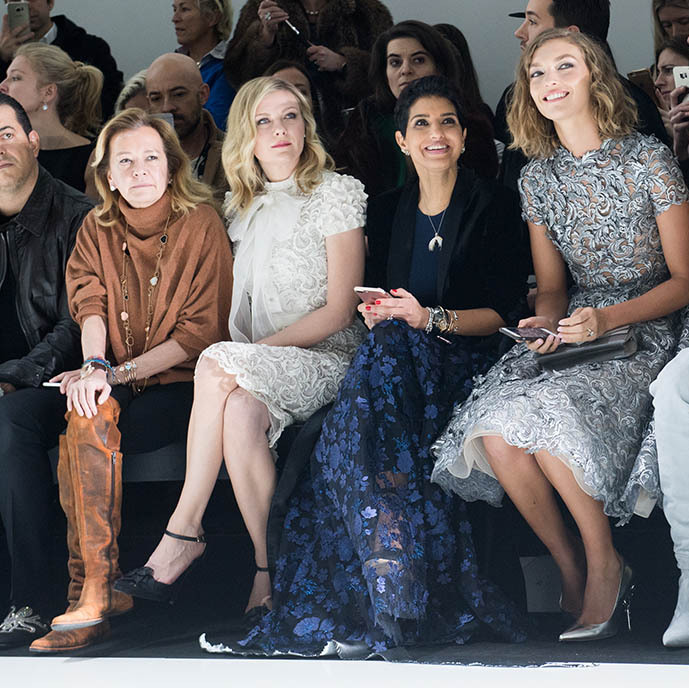 <a href=/tags/0/princess-deena><strong>Princess Deena Aljuhani Abdulaziz</strong></a> (centre) looked thrilled with the <strong>Ralph & Russo</strong> Haute Couture Spring/Summer 2017 show during Paris Fashion Week on Jan. 23, 2017. She sat in the front row with <a href=/tags/0/kirsten-dunst><strong>Kirsten Dunst</strong></a> and model <strong>Arizona Muse</strong>. <p>Photo: &copy; Samir Hussein/Samir Hussein/WireImage