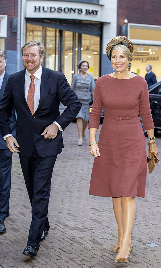 <a href=/tags/0/king-willem-alexander><strong>King Willem-Alexander</strong></a> of The Netherlands and <a href=/tags/0/queen-maxima><strong>Queen Maxima</strong></a> attended the Indonesia and The Netherlands: A joint Future seminar on Feb. 18. She stunned in a brick red dress with camel accessories and an elegant feathered hat. <p>Photo: &copy; Patrick van Katwijk/WireImage