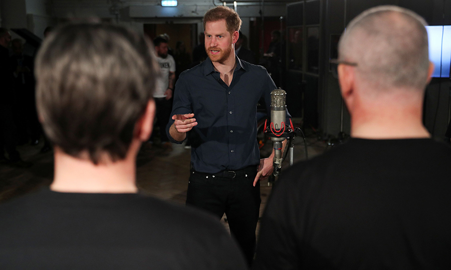 Harry, always keen to support veterans and servicemembers, took some time to talk with the choir during the recording session.