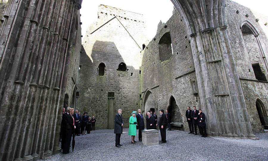 On the final day of the Queen and Prince Philip's four-day tour of Ireland, they visited the Cathedral at St Patrick's Rock (also known as The Rock of Cashel) in Cashel. Here they are in the magnificent nave. The Cathedral was built between 1235 and 1270. <p>Photo: &copy; Irish Government - pool/Getty Images