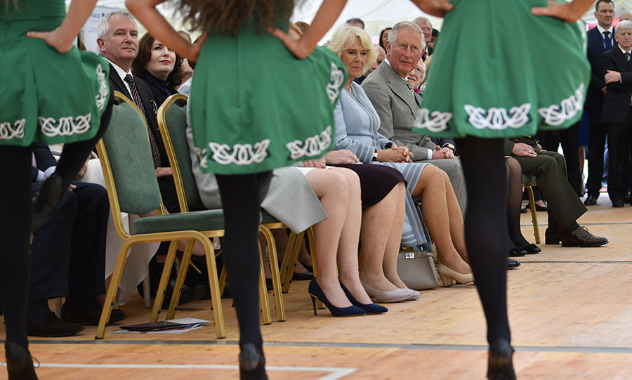Charles and Camilla enjoyed a traditional Irish dance performance at the Glencree Centre for Peace and Reconciliation in Enniskerry the same day.