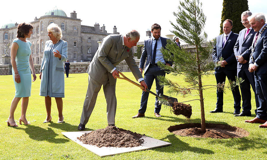 Charles planted a tree during a civic reception at the Powerscourt House and Gardens in Enniskerry on a lovely sunny day on May 20, 2019. Camilla chatted with <strong>Sarah Slazenger</strong>, who ran the estate.