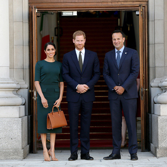 <p><a href=/tags/0/prince-harry-and-meghan><strong>Prince Harry and Meghan</strong></a> met with Taoiseach, or Prime Minister, <strong>Leo Varadkar</strong> during their tour of the Emerald Isle on July 10, 2018. <p>Photo: © PAUL FAITH/AFP/Getty Images