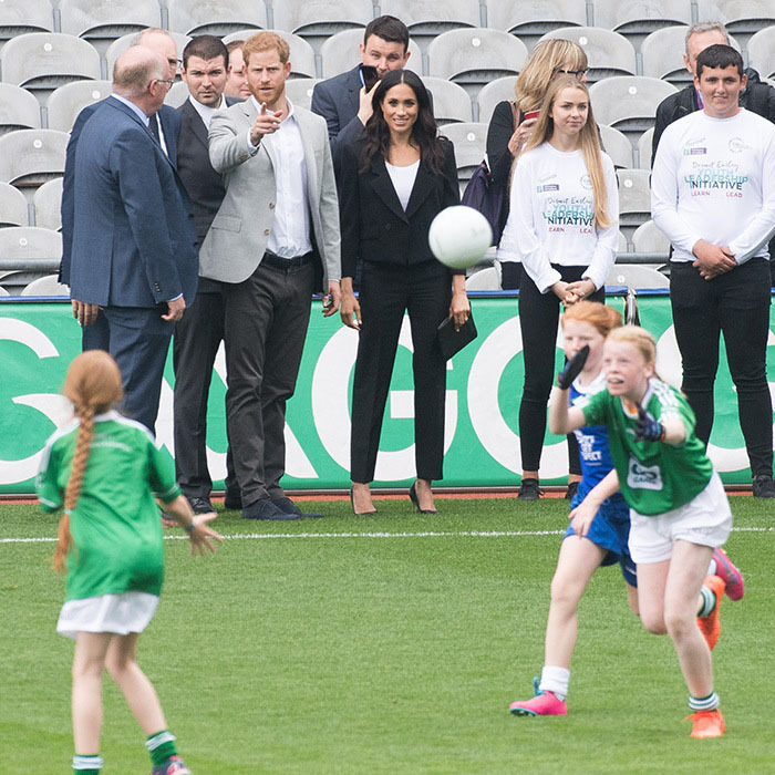 Go team! During a visit to Croke Park stadium in Dublin, the duke and duchess watched a game from the sidelines. <p>Photo: © Samir Hussein/Samir Hussein/WireImage