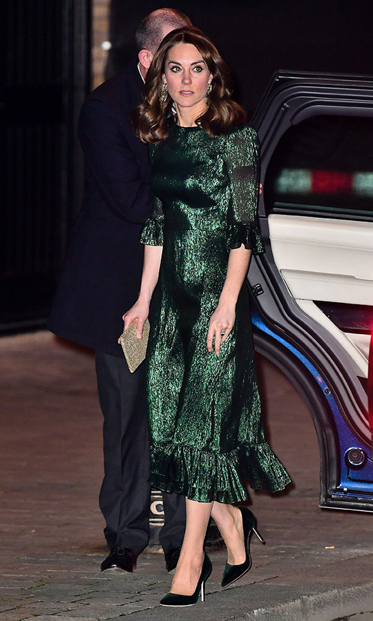 On the evening of March 3, Kate stepped out in a gorgeous shimmering green gown by <strong><a href=/tags/0/the-vampires-wife>The Vampire's Wife</a></strong> as she and William visited the Guinness Storehouse's Gravity bar. 