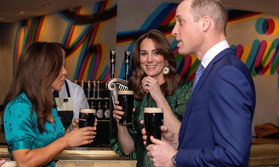 Pour a pint! The couple enjoyed pints of Guinness at the bar at an event that was hosted by the British Ambassador to Ireland.