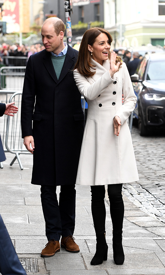 William and Kate were all smiles when they arrived at Jigsaw in Temple Bar, the National Centre for Youth Mental Health in Ireland. 