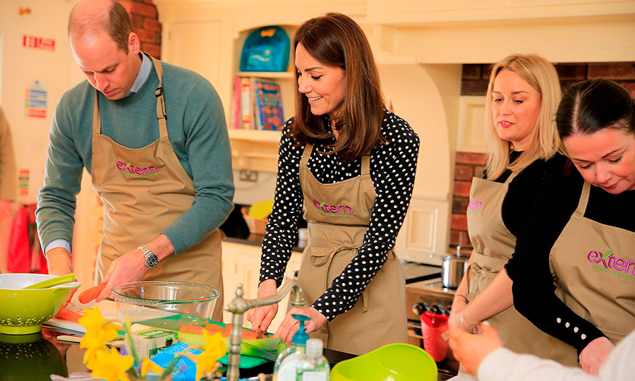 The down-to-earth duke and duchess got right into helping make soup!