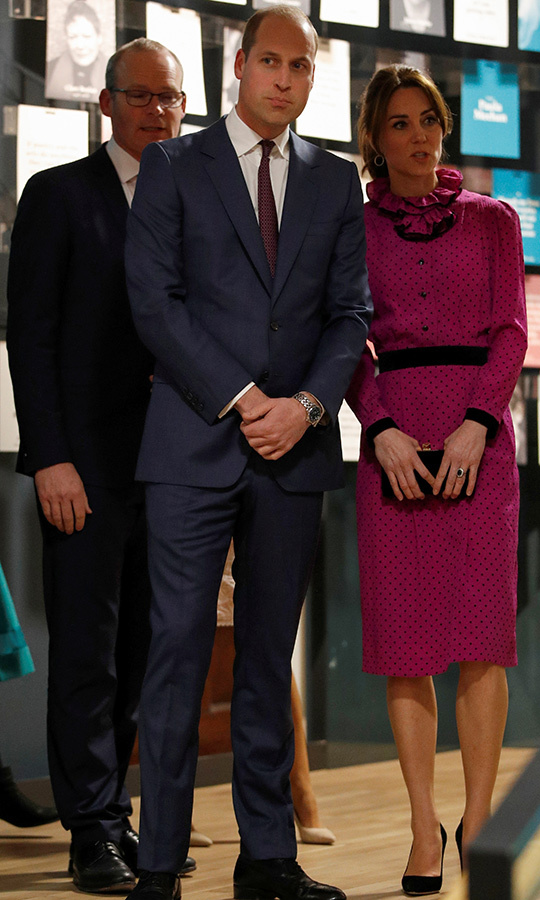 For their final engagement of the day, the Duke and Duchess of Cambridge visited the Museum of Literature Ireland for a reception hosted by <strong>Tanaiste Simon Coveney</strong>.