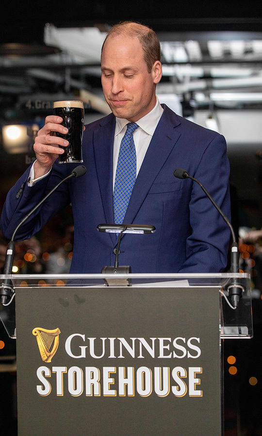 William gave a toast at the Guinness Storehouse on March 3. Photo: © PAUL FAITH/POOL/AFP via Getty Images