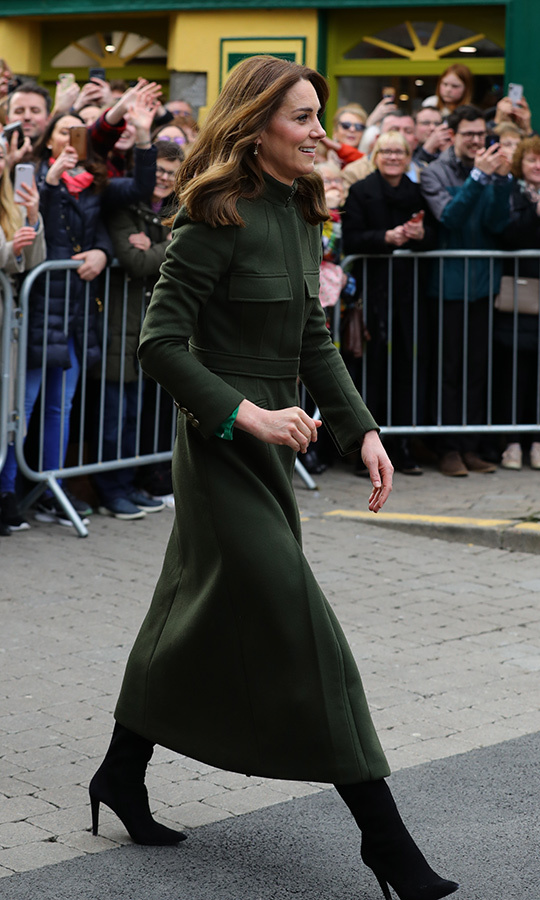 Kate looked beautiful in a green <strong><a href=/tags/0/alexander-mcqueen>Alexander McQueen</a></strong> coat that we last saw her wear earlier this year when she stepped out to Bradford, England with William.