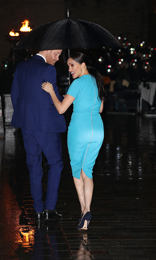 The duchess held her husband's arm as they went inside.
