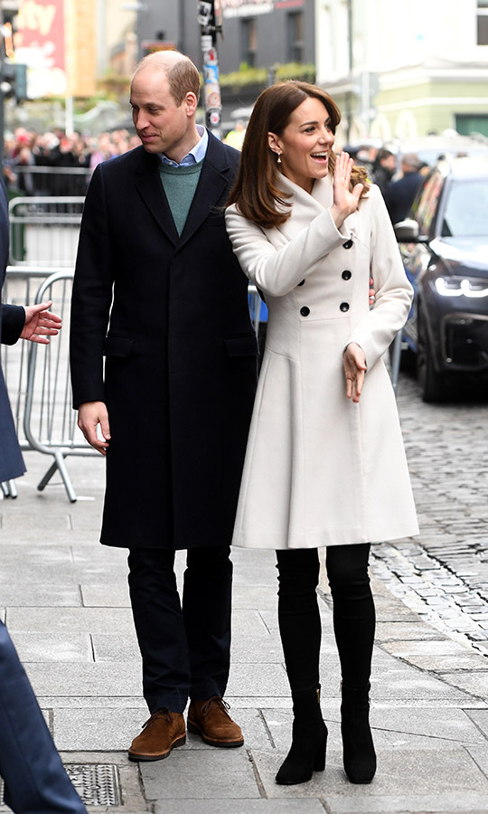 "On March 4, Kate and William visited Jigsaw, the National Centre for Youth Mental Health. She recycled a cream coat by <a href=""https://ca.hellomagazine.com/tags/0/reiss""><strong>Reiss</strong></a>, which she owned before royal life! Black skinny jeans, her favourite black ankle boots from <a href=""https://ca.hellomagazine.com/tags/0/russell-and-bromley""><strong>Russell & Bromley</strong></a> and <a href=""https://ca.hellomagazine.com/tags/0/daniella-draper""><strong>Daniella Draper</strong></a> shamrock earrings completed the outfit.