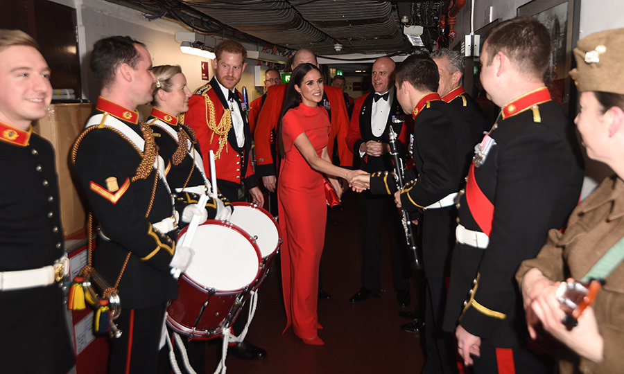 The duke and duchess met with performers backstage, keen to thank them for their service.  