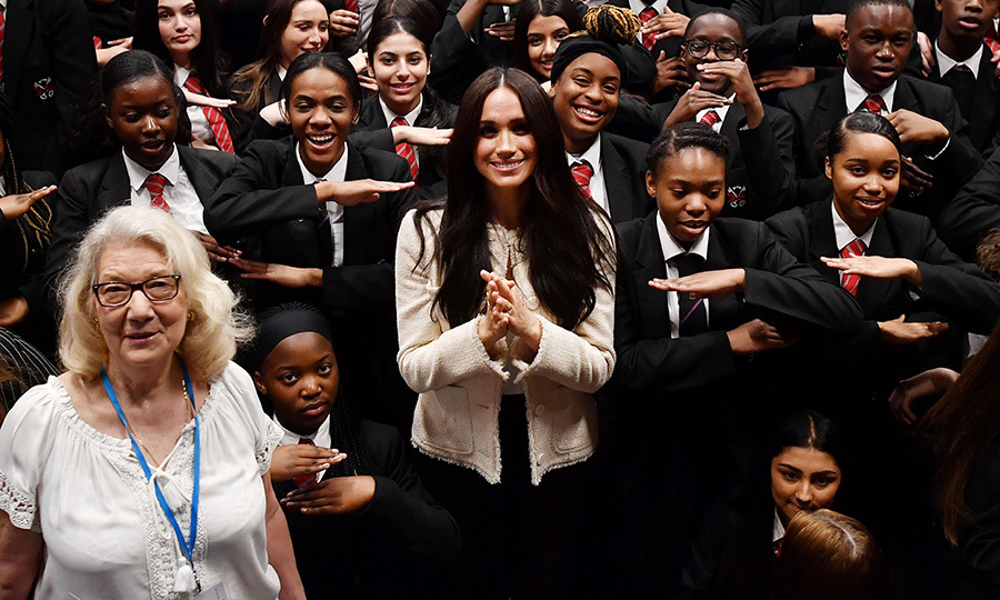 <a href=/tags/0/meghan-markle><strong>Duchess Meghan</a></strong> made a surprise visit to the Robert Clack Upper School in Dagenham, East London on March 6 in honour of <a href=/tags/0/international-womens-day><strong>International Women's Day</a></strong>. She gave an inspiring speech and also asked the students –  girls as well as boys – what the day means to them. 