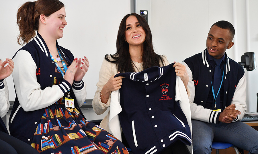 Meghan also received one of the school's jackets as a thank-you gift for her visit! So sweet!
