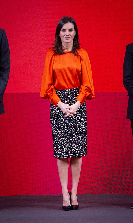 <a href=/tags/0/queen-letizia><strong>Queen Letizia</strong></a> was a vision in a fiery orange top and animal print pencil skirt when she stepped out to the accreditation ceremony for honorary Spain Brand Ambassadors at El Pardo Palace in Madrid on March 3. 