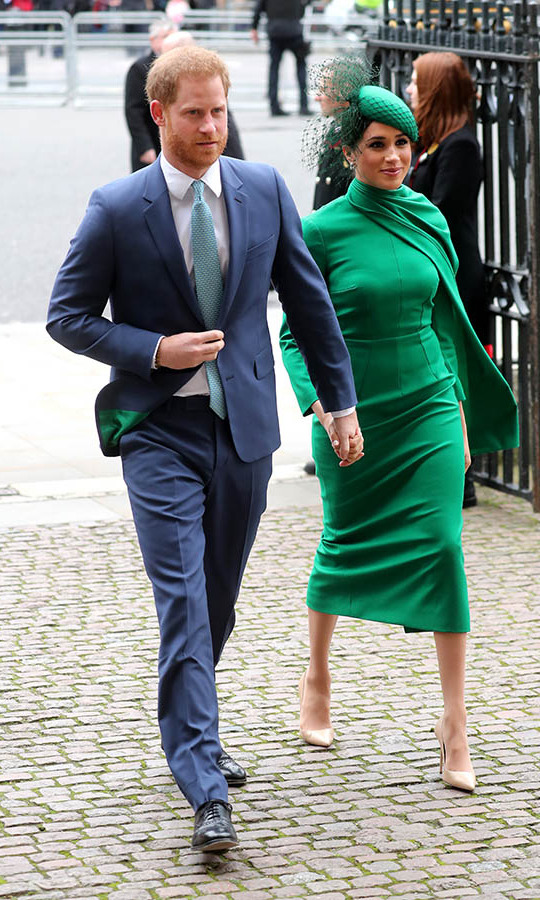 "Also at the event, <strong><a href=""https://ca.hellomagazine.com/tags/0/meghan-markle"">Duchess Meghan</a></strong> stunned in all emerald green alongside <strong><a href=""https://ca.hellomagazine.com/tags/0/prince-harry"">Prince Harry</a></strong>. She was clad in a long-sleeved dress with asymmetrical draped neckline from <strong><a href=""https://ca.hellomagazine.com/tags/0/emilia-wickstead/"">Emilia Wickstead</a></strong>, matching green fascinator with netted veil by <strong>William Chambers</strong>, <a href=/tags/0/birks><strong>Birks</strong></a> diamond snowflake earrings and her-go-to beige <strong><a href=""https://ca.hellomagazine.com/tags/0/aquazzura"">Aquazzura</a></strong> pumps.