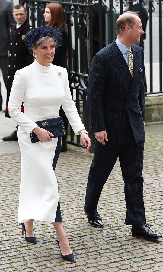 On March 9, the <a href=/tags/0/countess-of-wessex><strong>Countess of Wessex</strong></a> turned heads in a refined white-and-blue ensemble, as she stepped out with husband <a href=/tags/0/prince-edward><strong>Prince Edward</strong></a> for the Commonwealth Day service at Westminster Abbey.