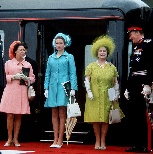 The <a href=/tags/0/british-royals><strong>Royal Family</strong></a> wore plenty of colour to the investiture of <a href=/tags/0/prince-charles><strong>Prince Charles</strong></a> as Prince of Wales at Caernarfon Castle on July 1, 1969 in Wales. <a href=/tags/0/princess-margaret><strong>Princess Margaret</strong></a> was pretty in pink and <a href=/tags/0/princess-anne><strong>Princess Anne</strong></a> was a delight in sky blue. The <a href=/tags/0/queen-mother><strong>Queen Mother</strong></a> shone brightly in a chartreuse lace dress accented with matching feathered hat and long white gloves.