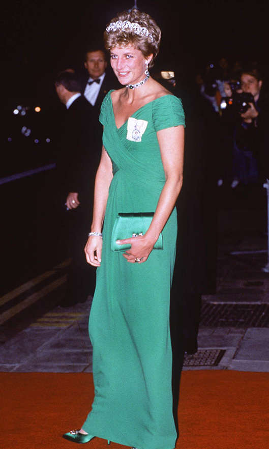 <a href=/tags/0/princess-diana><strong>Princess Diana</strong></a> dazzled in a vivid green <a href=/tags/0/catherine-walker><strong>Catherine Walker</strong></a> gown and coordinating heels at a banquet at the Dorchester Hotel for the Yang di-Pertuan Agong (also known as the Supreme Head or the King) of Malaysia in Nov. 1993.