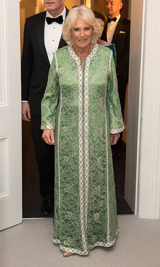 <a href=/tags/0/camilla-parker-bowles><strong>Camilla, Duchess of Cornwall</strong></a> was a regal beauty at a dinner to mark St. Patrick's Day and to celebrate UK-Irish relations on March 6, 2019 in London. She wore a green and white maxi gown trimmed in exquisite floral embroidery. 