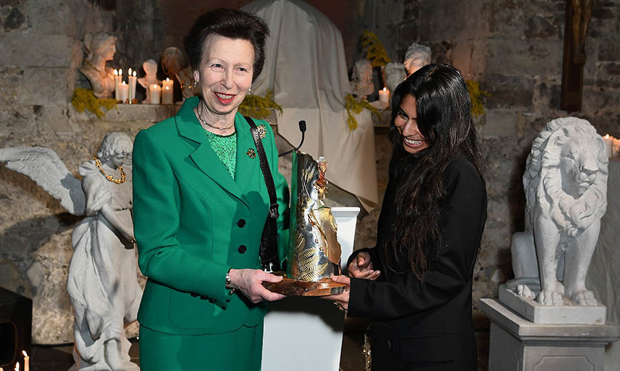The <a href=/tags/0/princess-anne><strong>Princess Royal</strong></a> showcased her elegant style in a Kelly green skirt suit and matching top when she presented the Queen Elizabeth II Award for British Design to jewellery designer <strong>Rosh Mahtani</strong> of <strong>Alighieri Jewellery</strong> during London Fashion Week on Feb. 18, 2020.