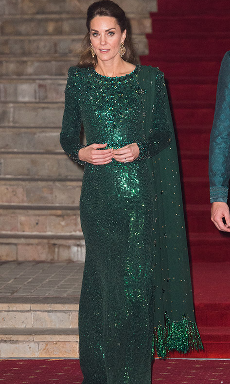 At a special reception hosted by the British High Commissioner <strong>Thomas Drew</strong> at the Pakistan National Monument on Oct. 15, 2019, <a href=/tags/0/kate-middleton><strong>Duchess Kate</strong></a> shone bright in a glittering green <a href=/tags/0/jenny-packham><strong>Jenny Packham</strong></a> gown and scarf. She accessorized with earrings by British-Pakistani designer <strong>Onitaa</strong>.