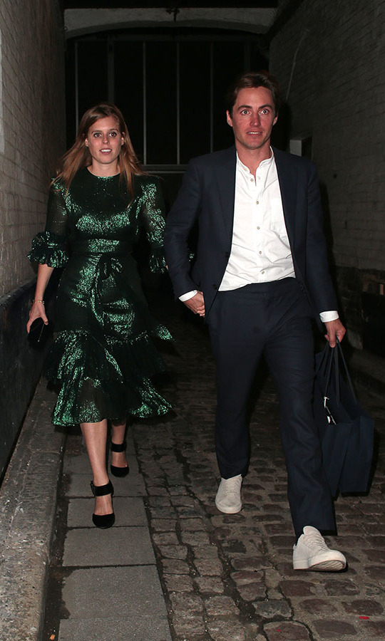 Like Kate, <a href=/tags/0/princess-beatrice><strong>Prince Beatrice</strong></a> shone bright in a metallic green dress from <a href=/tags/0/the-vampires-wife><strong>The Vampire's Wife</strong></a>. She wore the frilled version of the lamé frock on a few occasions, including during an outing in London with fiancé <a href=/tags/0/edoardo-mapelli-mozzi><strong>Edoardo Mapelli Mozzi</strong></a> in Oct. 2019.