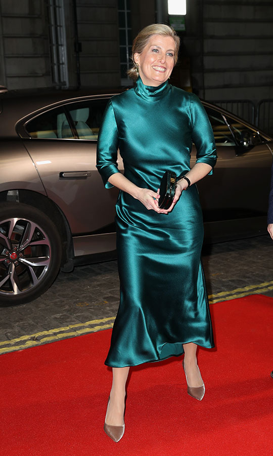 On Feb. 27, 2020, the <a href=/tags/0/countess-of-wessex><strong>Countess of Wessex</strong></a> made a sensational style statement in a satiny green <strong>Galvan</strong> dress and taupe <a href=/tags/0/jimmy-choo><strong>Jimmy Choo</strong></a> pumps at the <em>Sulphur and White</em> premiere at The Curzon Mayfair in London.