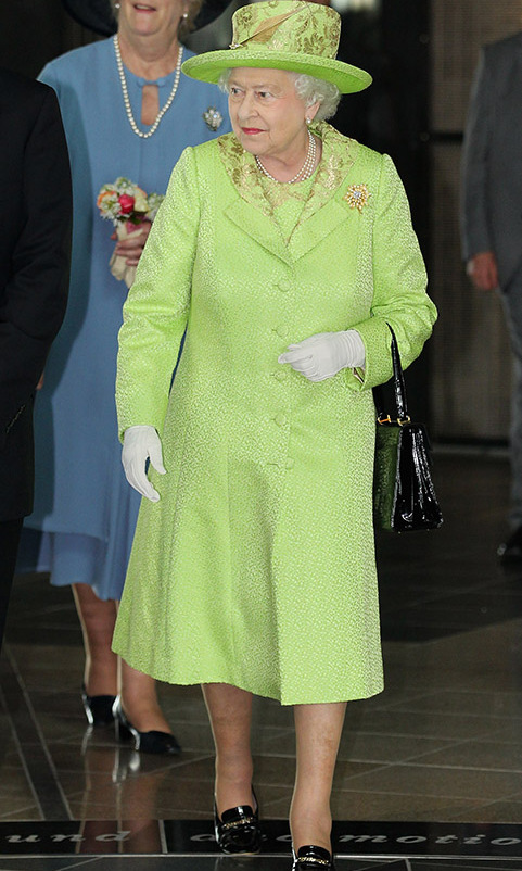 <a href=/tags/0/queen-elizabeth-ii><strong>The Queen</strong></a> can carry off all shades of the rainbow, including pastel lime green, as evidenced by this embroidered coat and matching hat she wore to visit the new Titanic Building in Belfast on June 27, 2012 during her visit to Northern Ireland. The gold embroidery makes the ensemble all the more striking. <p>Photo: &copy; Chris Jackson/Getty Images