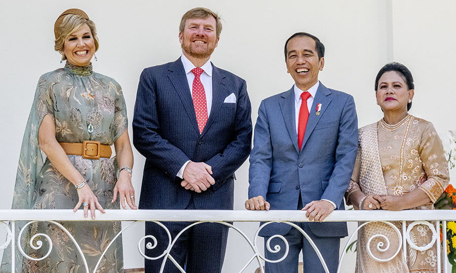 During <a href=/tags/0/queen-maxima><strong>Queen Máxima</strong></a> and <a href=/tags/0/king-willem-alexander><strong>King Willem-Alexander</strong></a>'s royal tour of Indonesia they met with President <strong>Joko Widodo</strong> and his wife <strong>Iriana Widodo</strong> on March 10 at the Presidential Palace. The Dutch queen looked regal in a floral printed cape dress with camel fascinator and matching belt.