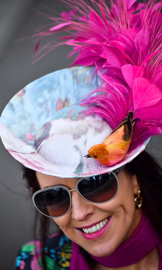 Tweet, tweet! A racegoer topped her colourful ensemble off with a printed fascinator complete with a tiny orange bird with hot pink feathered tail on the second day of the Cheltenham Festival.