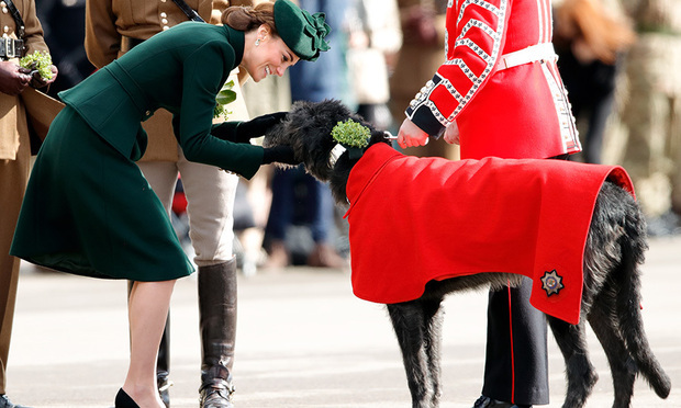 For St. Patrick's Day 2019, <a href=/tags/0/prince-william><strong>Prince William</strong></a> and <a href=/tags/0/kate-middleton><strong>Duchess Kate</strong></a> visited the 1st Battalion of the Irish Guards in Hounslow, London on March 17. 