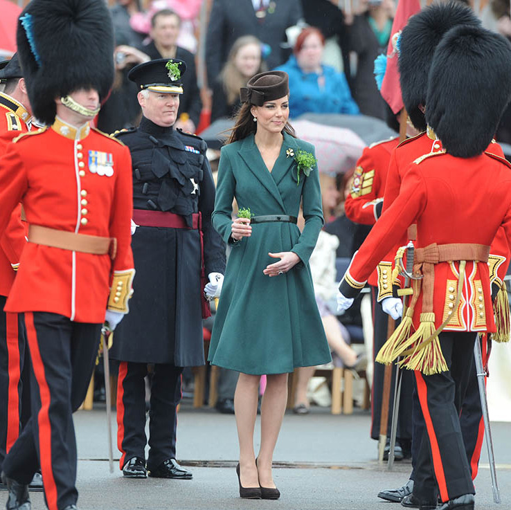 <a href=/tags/0/kate-middleton><strong>Duchess Kate</strong></a> presented shamrocks to members of the 1st Battalion Irish Guards at the St. Patrick's Day parade at Mons Barracks on March 17, 2012 in Aldershot.