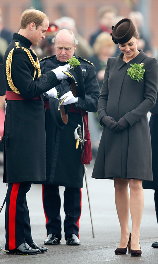 On St. Patrick's Day 2015, the <a href=/tags/0/prince-william-and-kate><strong>Duke and Duchess of Cambridge</strong></a> attached shamrocks to their outfits at the annual St. Patrick's Day Parade at Mons Barracks in Aldershot.