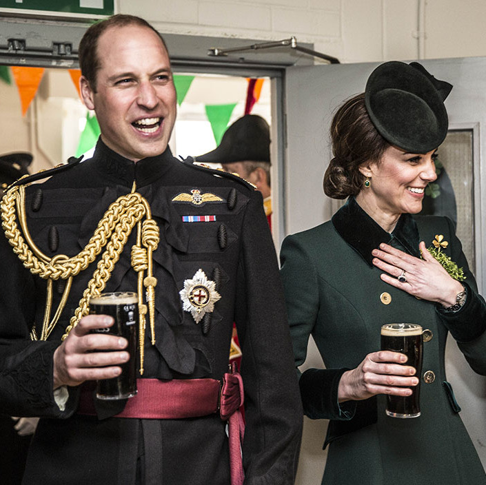 Cheers! The Duke and Duchess of Cambridge enjoyed a pint of Guinness each when they met with soldiers of the Irish Guards in their canteen following the St. Patrick's Day parade at Cavalry Barracks in Hounslow, London on March 17, 2017.