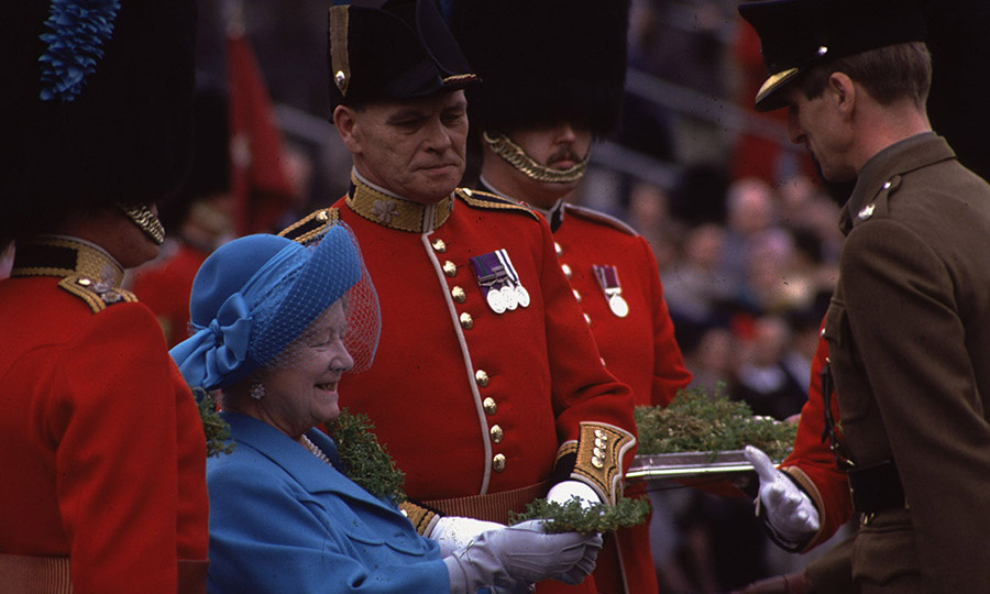 The Queen Mother handed out shamrocks to the Irish Guards during the annual St. Patrick's Day ceremony on March 17, 1987.