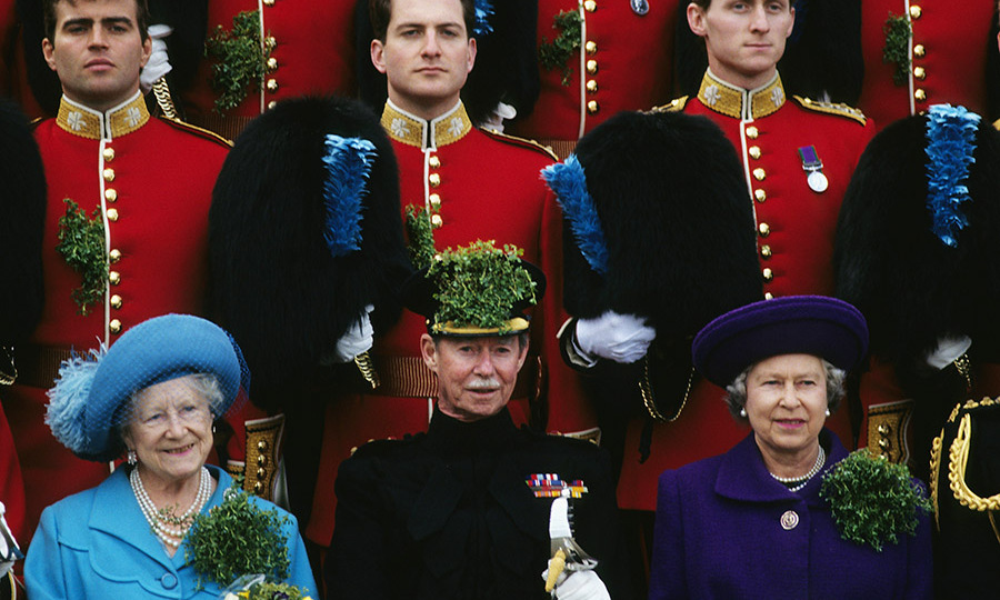 <a href=/tags/0/queen-elizabeth-ii><strong>The Queen</strong></a>, <strong>Grand Duke Jean of Luxembourg</strong> and the <a href=/tags/0/queen-mother><strong>Queen Mother</strong></a> posed with the Irish Guards on March 17, 1995 during the St. Patrick's Day parade festivities.