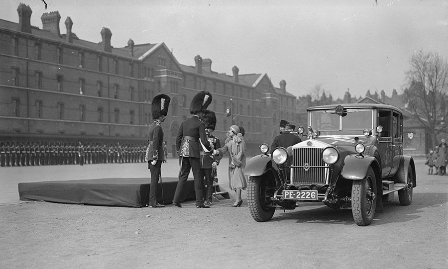 The <a href=/tags/0/queen-mother><strong>Queen Mother</strong></a>, who was then known as Lady Elizabeth Bowes-Lyon or the Duchess of York, presented shamrocks to the 1st Battalion Irish Guards at Chelsea Barracks on St. Patrick's Day in 1928.