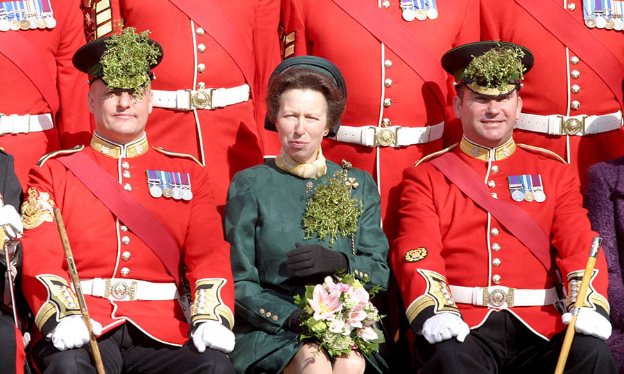 Wearing a sprig of shamrock and a green skirt suit, <a href=/tags/0/princess-anne><strong>Princess Anne</strong></a> interacted with the Irish Guards at the Wellington Barracks on March 17, 2005.