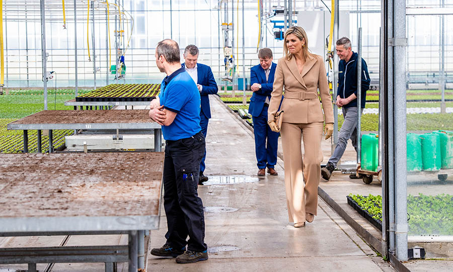 <a href=/tags/0/queen-maxima><strong>Queen Máxima</strong></a> of the Netherlands visited Zuidbaak floriculture company in Honselersdijk on March 27 to hear about the impact of the <a href=/tags/0/coronavirus><strong>coronavirus</strong></a> pandemic on the industry. She was totally coordinated in a belted beige suit with matching clutch and gloves.