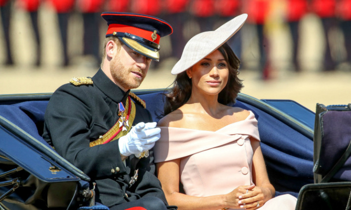Newlywed <a href=/tags/0/meghan-markle><strong>Duchess Meghan</strong></a> was a delight in a bespoke ballet pink <a href=/tags/0/carolina-herrera><strong>Carolina Herrera</strong></a> off-the-shoulder dress and tipped fascinator at <a href=/tags/0/trooping-the-colour><strong>Trooping the Colour</strong></a> in 2018.