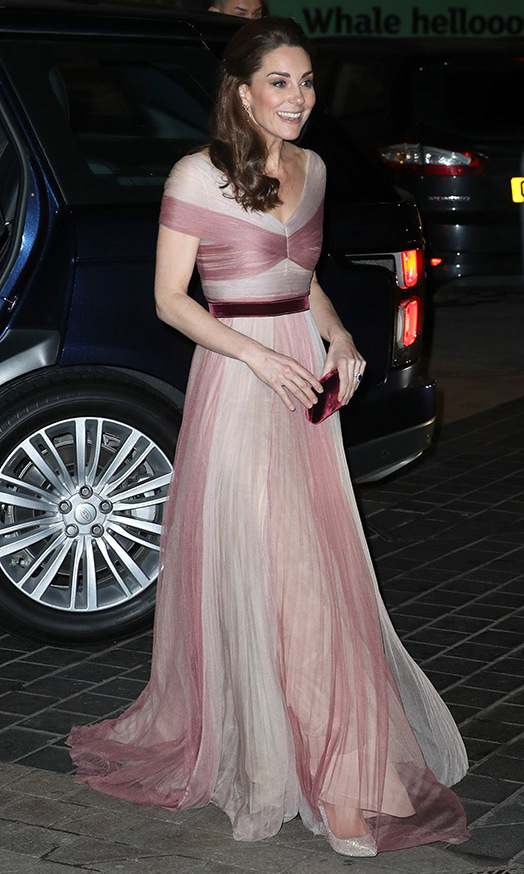 At the 100 Women in Finance's Philanthropic Initiatives gala dinner in aid of Mentally Healthy School in 2018, <a href=/tags/0/kate-middleton><strong>Duchess Kate</strong></a> was a vision in an ethereal <a href=/tags/0/gucci><strong>Gucci</strong></a> gown featuring multiple layers of billowing soft pink fabric. 