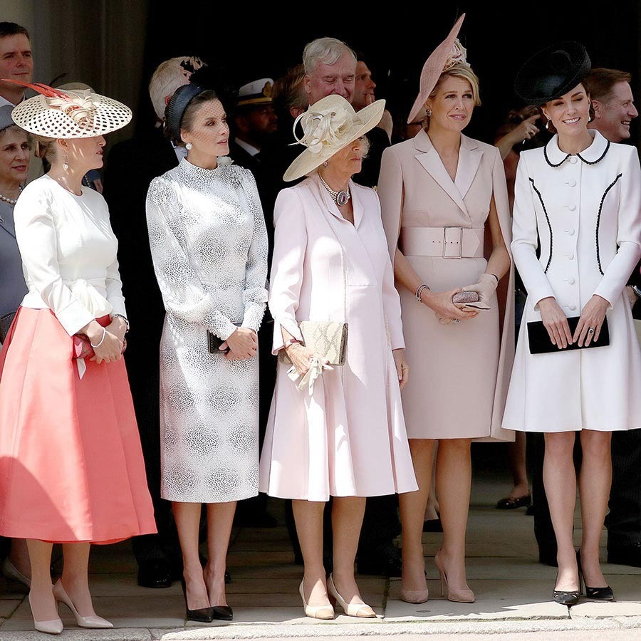 Talk about a stylish group! Royals came together for the <a href=/tags/0/order-of-the-garter><strong>Order of the Garter</strong></a> in Windsor in 2019.  There were plenty of lovely pink ensembles, including the <a href=/tags/0/countess-of-wessex><strong>Countess of Wessex</a></strong> in a coral skirt (left), <a href=/tags/0/camilla-parker-bowles><strong>Duchess Camilla</strong></a> (centre) in the softest of pinks and Queen Máxima (second right) in a subdued pink belted cape dress with matching fascinator. The ladies were joined by Queen Letizia and Duchess Kate.